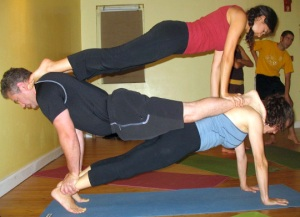 Human Pyramid or Staggerd Chaturanga